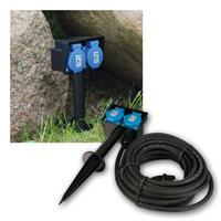 Gartensteckdose, 2-fach | 10m Zuleitung | 250V/16A IP44