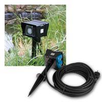 Gartensteckdose mit Timer | 10m Zuleitung | 250V/16A IP44