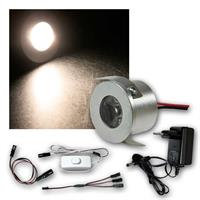 3er Set LED Einbauspot | flach | warmweiß | 12V | Mini-Spot