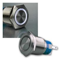 Button Ø19mm with ring illumination white | 250V/5A | IP67