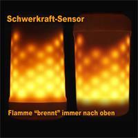 Dank des Schwerkraftsensors brennt die Flammenlampe immer nach oben