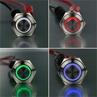 Beleuchteter Vollmetall-Taster in 4 Leuchtfarben
