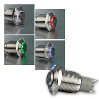 Metallschalter mit LED-Ringbeleuchtung | Ø16mm | 4 Farben