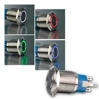 Metallschalter mit LED-Ringbeleuchtung | Ø19mm | 4 Farben