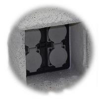 4 Schutzkontaktsteckdosen mit Federklappdeckel