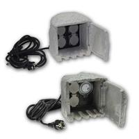 Garden socket STONE | 2-or 4-fold | 250V/16A | IP44, outdoor