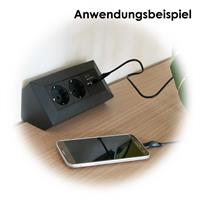 2-fach Steckdosenblock mit 2 USB-Ladebuchsen