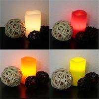 Echtwachs-Kerzen in den Farben weiß, orange, rot und grün