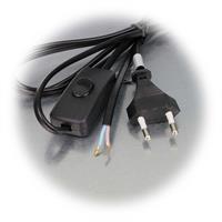 2m Netzkabel mit Schnurschalter erhältlich in weiß oder schwarz