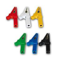 Crocodile clips with socket | Set of 6, colorful | 30A/250V