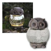 LED Solar-Figur OWLY | Buble-Glaskugel, 13x10cm | IP44