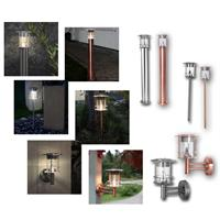 LED solar light| way/wall/stand lamp, stainless steel/copper