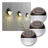 LED Solar Wall Lights, Set of 3 | 6 LEDs, warm white | IP44