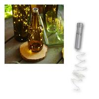 LED wire fairy lights, bottle cap | 15 LEDs, silver