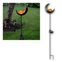 LED solar bar Melilla | moon/glass ball, amber/black | IP44