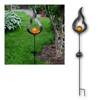 LED solar bar MELILLA outdoor| flame/glass ball, amber/black