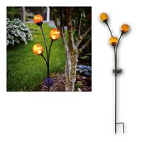 LED solar bar TRIESTE | 3x glass ball, amber/black |  outdoo