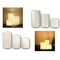LED outdoor candle Ø7,5cm | timer | white/beige | 3 heigths