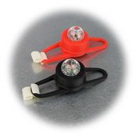 2er Set LED-Silikonleuchten in weiß und rot mit Befestigungshaken