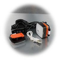Stirnlmape mit Softband, Gürtelclip und USB-Ladekabel