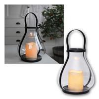 LED Laterne Storm, 21cm | Glas, Timer | für Innenbereich