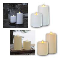 LED Candle Outdoor GLIM, white/beige | 8.5 or 13.5cm
