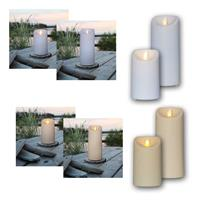 LED outdoor candle M-TWINKLE, white/beige | 12.5 or 17.5cm