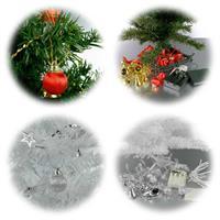 künstliche Weihnachtsbäume mit LED Lichterketten und Accessoires