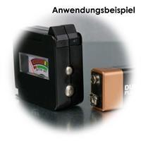 Testgerät für gängige Batterienn, Knopfzellen und 9-Volt Blockbatterien