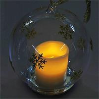 Warmweiß leuchtende und flackernde LED Kerze in Glaskugel