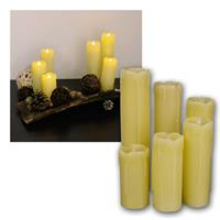 Set of 6 LED wax candles | Ø 5cm | 10-22,5cm | flickering
