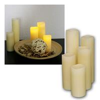 Set of 5 LED wax candles | Ø 5cm | 10-20cm high | flickering