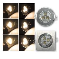 LED Einbaustrahler 230V/3x 1/2/3W | rund/eckig | warmweiß