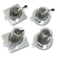 schwenkbare LED Alu-Einbauleuchte mit Kühlrippen, eckig oder rund