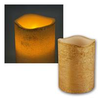 LED real wax candle, gold | Ø-h 7.5x10cm | for indoor use