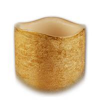 LED Echtwachskerze für den Innenbereich mit goldfarbigen Mantel