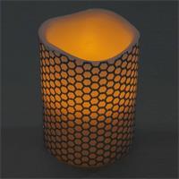 LED Stumpenkerze aus Echtwachs mit flackernder warmweißer LED