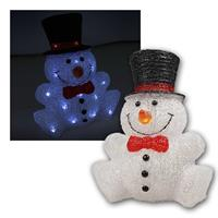 Snowman with LED lighting | height 31cm | white, IP44