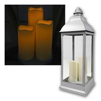 Laterne mit 3 LED-Flackerkerzen | silbergrau | Flackereffekt