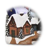 schön gestaltete LED Leuchte mit Weihnachtsmotiven und Schneefall