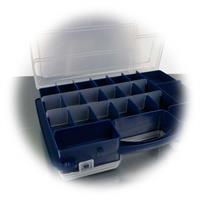 Sortierbox mit variablen Einteilern der Fächer, nur eine Seite
