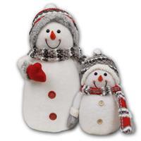 LED Schneemänner mit Mützen, Schals und Handschuhen