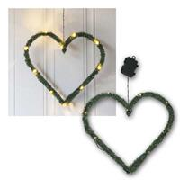 LED Tannen-Deko Line Heart, 40x38cm | Batterie, warmweiß