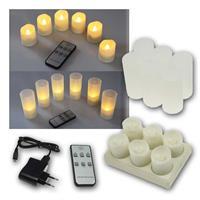 6 LED-Kerzen | Fernbedienung, Ladestation | wiederaufladbar