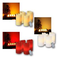 Set of 4 LED Advent candles with remote control | 3 colours