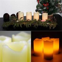 4er Set weiße oder elfenbeinfarbene LED Advents-Kerzen