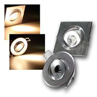 LED downlight RD/QD-1 | 1W, 80lm | round/square | warm white