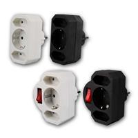 Kombi-Adapter-Steckdose | Euro- und Schutzkontakt | 4 Typen