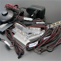 Komplett Set LED Schienen mit Fußschalter und Netzteil