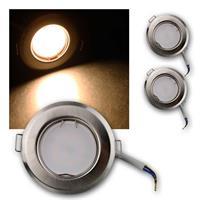 3er Set Einbauleuchte RFS3WW | rund 230V/3W Edelstahl-Optik